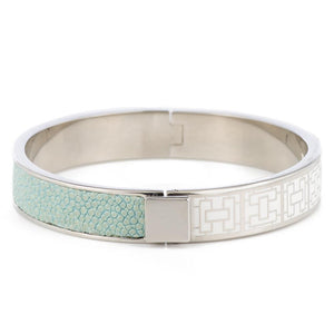 CORFU Hinged white enamel bangle, inlay