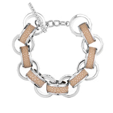 Load image into Gallery viewer, Lola Beaded White Gold Link Bracelet With Shagreen Inlay