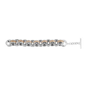 Lola Beaded White Gold Link Bracelet With Shagreen Inlay