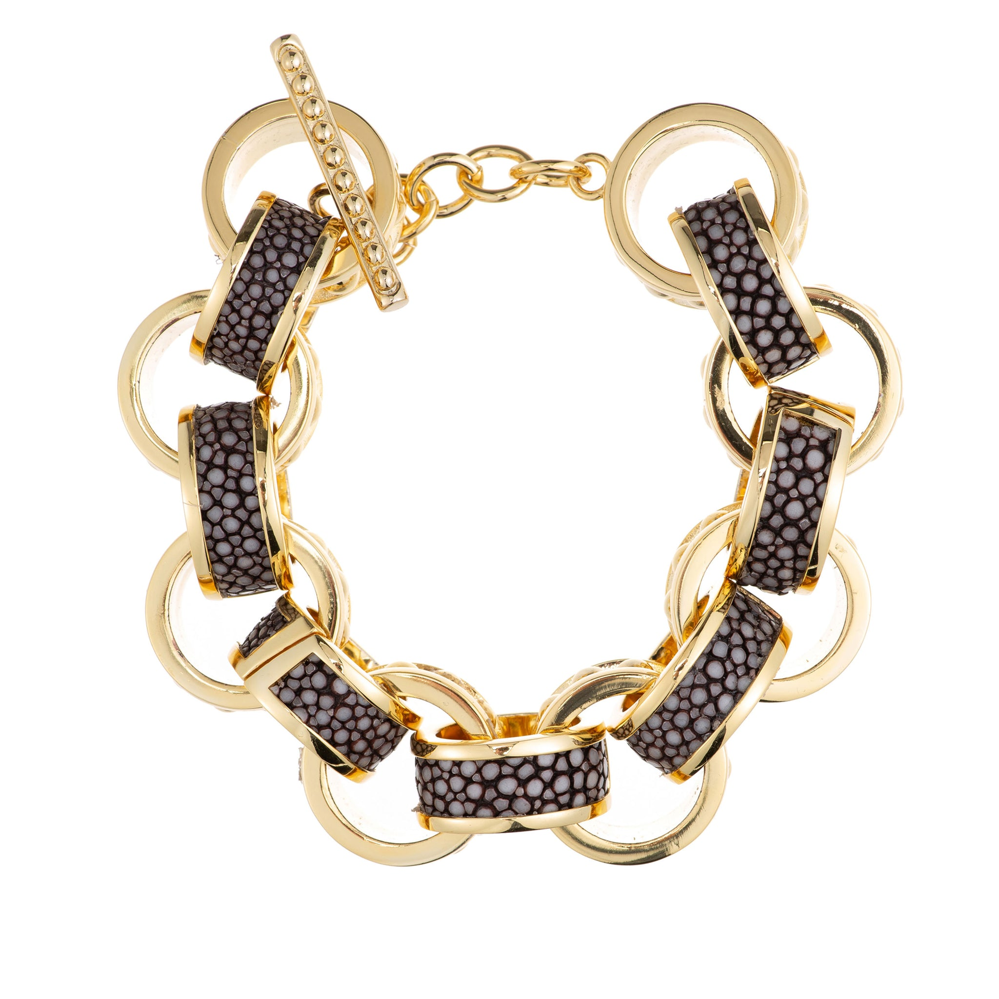 Lola Beaded Yellow Gold Link Bracelet With Shagreen Inlay