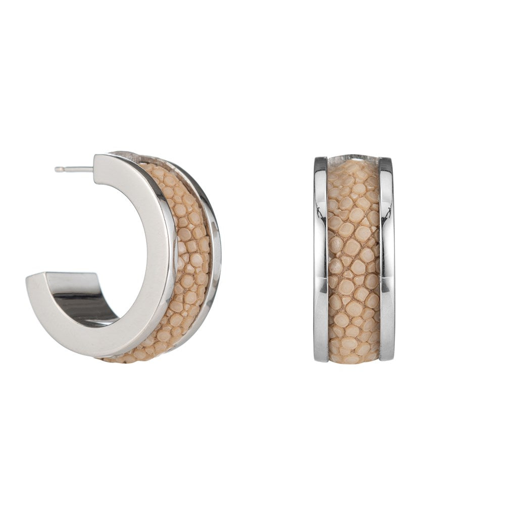 Emma White Gold With Shagreen Inlay Hoop Earring