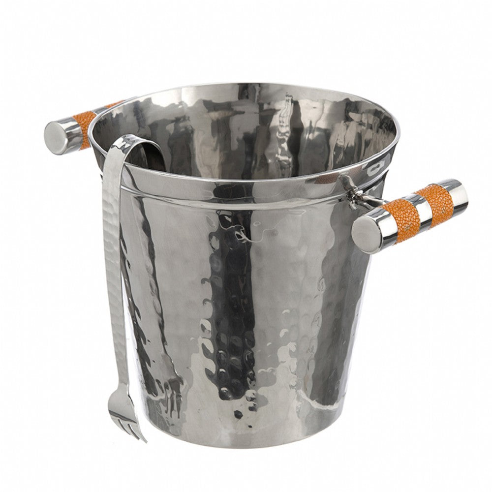 Hammered Stainless Steel Ice Bucket With Tongs