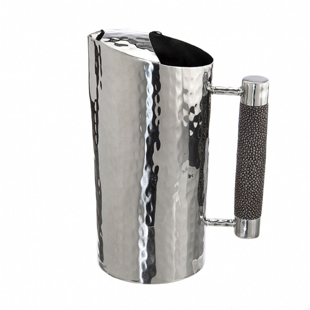 Handmade Hammered Stainless Steel Pitcher Custom Shagreen Inlay Handle Coffee- VIVO Direct