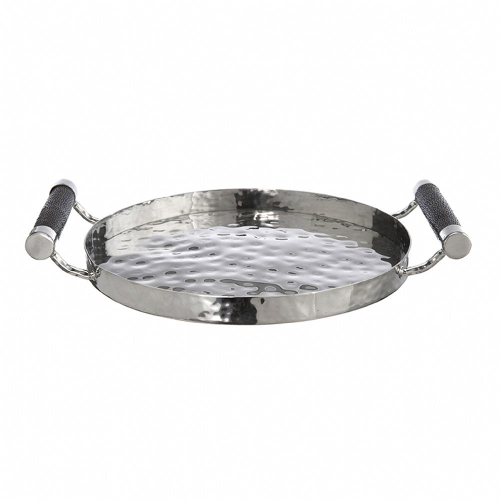 Hammered Stainless Steel Round Tray 12