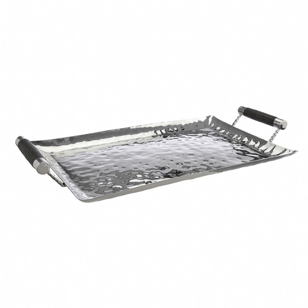 Hammered Stainless Steel Rectangle Tray 20x13