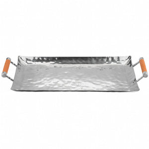 Hammered Stainless Steel Rectangle Tray 18x10