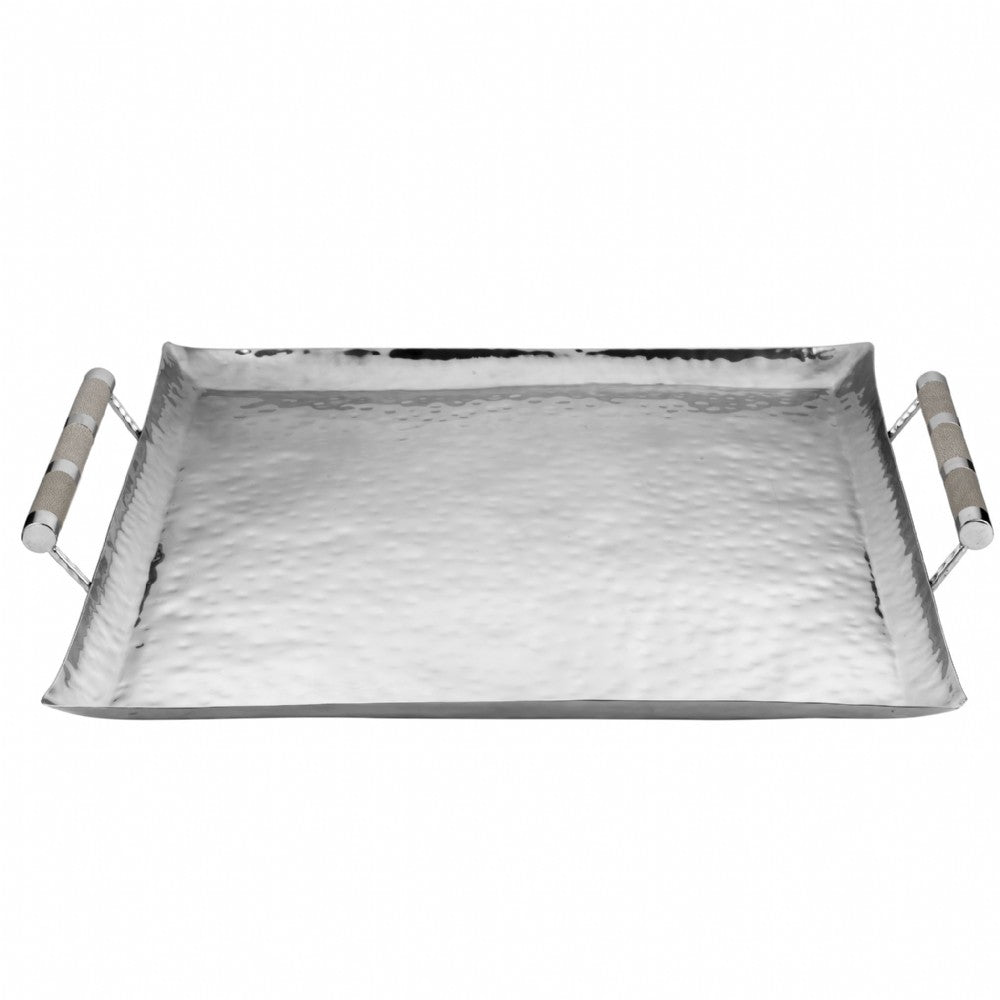 Hammered Stainless Steel Square Tray 24x24
