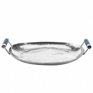 Hammered Stainless Steel Oval Tray 15""