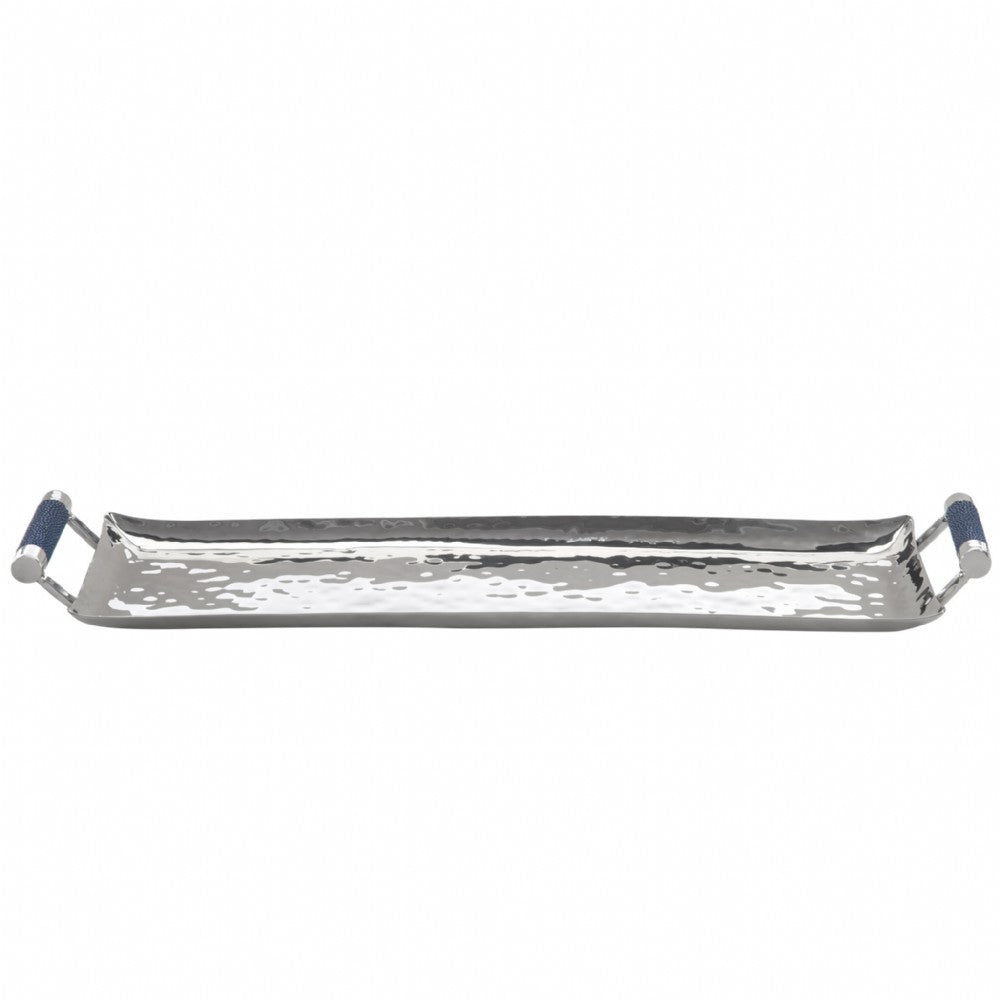 Hammered Stainless Steel Rectangle Tray 6