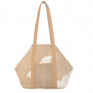 Baja II- Beige Hair on Hide + Shagreen Tote