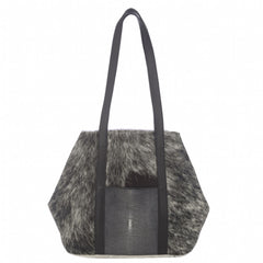 Baja II- Black Hair on Hide + Shagreen Tote