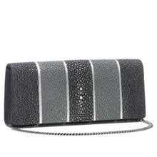 Load image into Gallery viewer, Black And Gray Stripe Shagreen Clutch Bag Front View With Chain Cleo - Vivo Direct