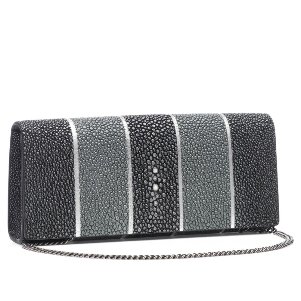 Black And Gray Stripe Shagreen Clutch Bag Front View With Chain Cleo - Vivo Direct