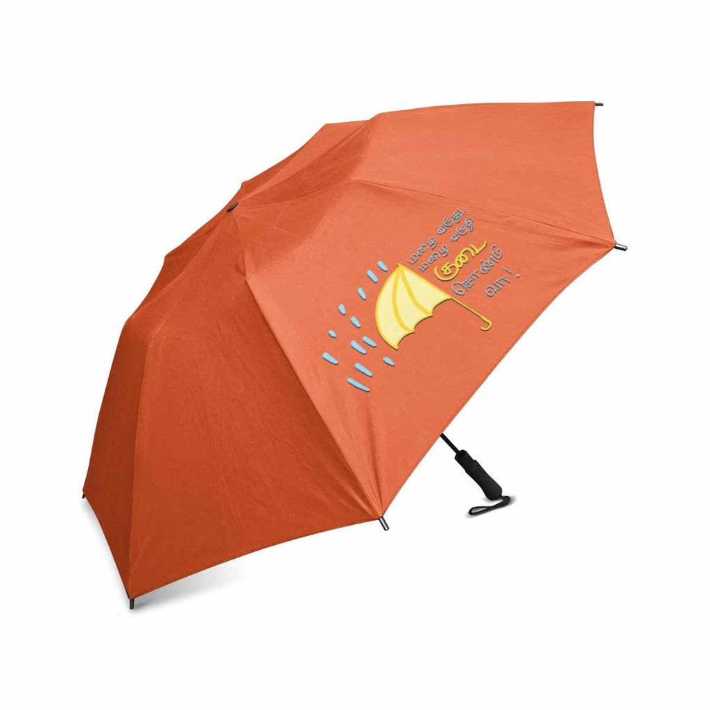 Orange Thamizh semi automatic foldable umbrella 42 inch Mazhai Varuthu Mazhai Varuthu gift idea for friends and family