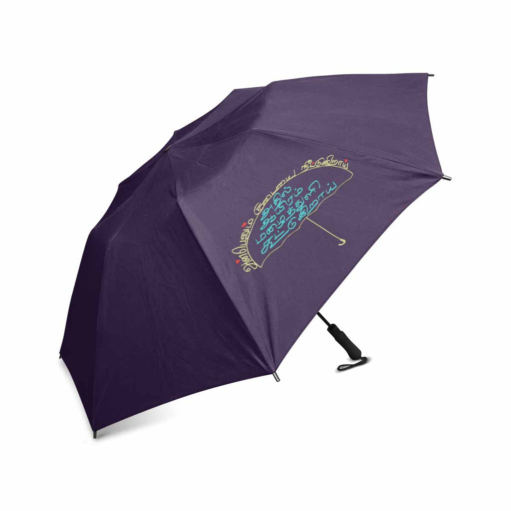 Blue Thamizh semi automatic foldable umbrella 42 inch Anbaenum Kudaiyai Neettugiraai gift idea for friends and family