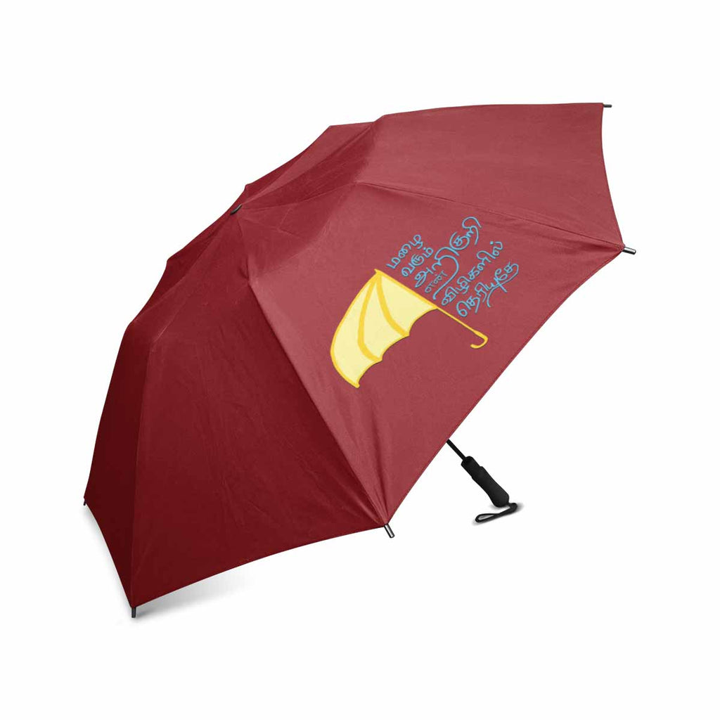 Red Thamizh semi automatic foldable umbrella 42 inch mazhai varum arikuri gift idea for friends and family