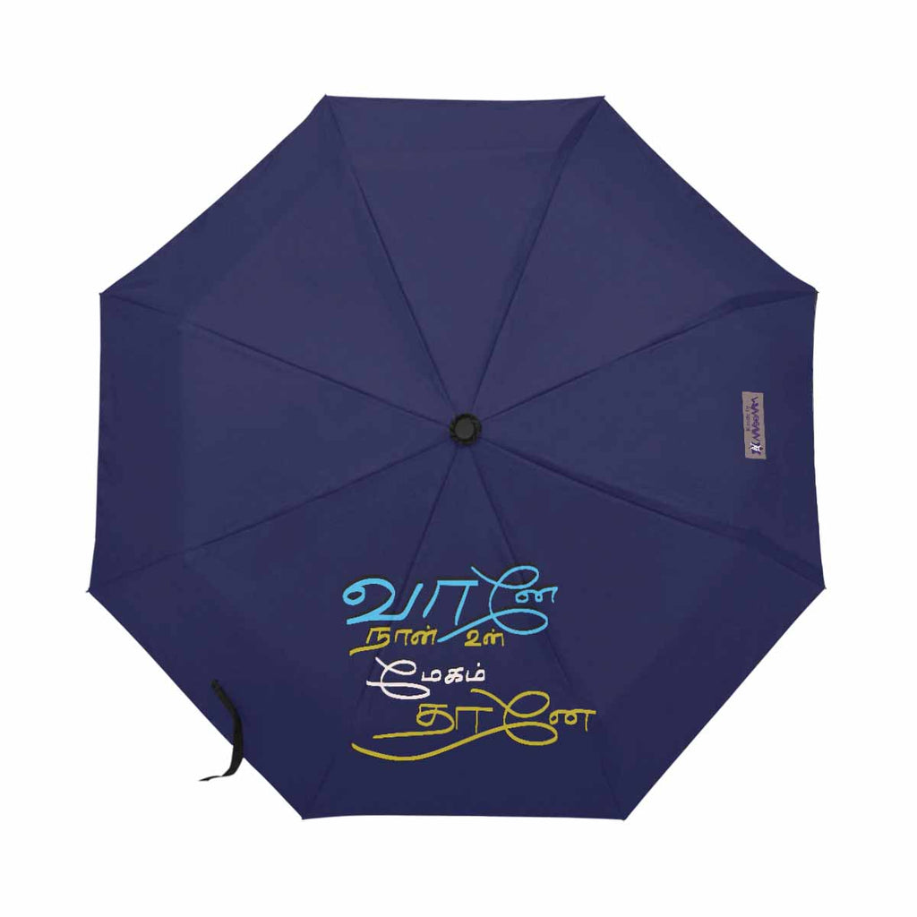 Blue Thamizh automatic foldable umbrella anti-uv 21 inch Nenjukkul Paeithidum Maamazhai wedding anniversary valentines day romantic gift for girlfriend lover wife
