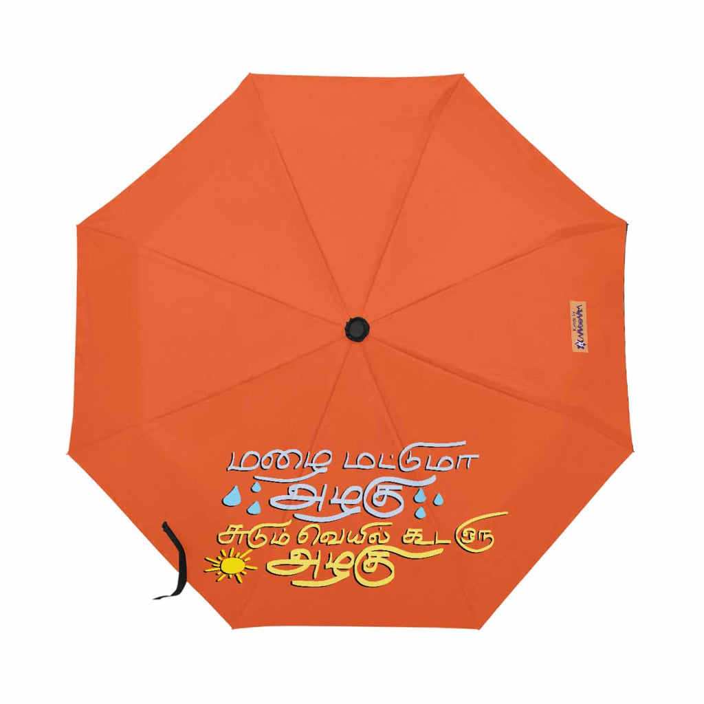 Orange Thamizh automatic foldable umbrella anti-uv 21 inch Mazhai Mattumaa Azhagu gift idea for friends and family