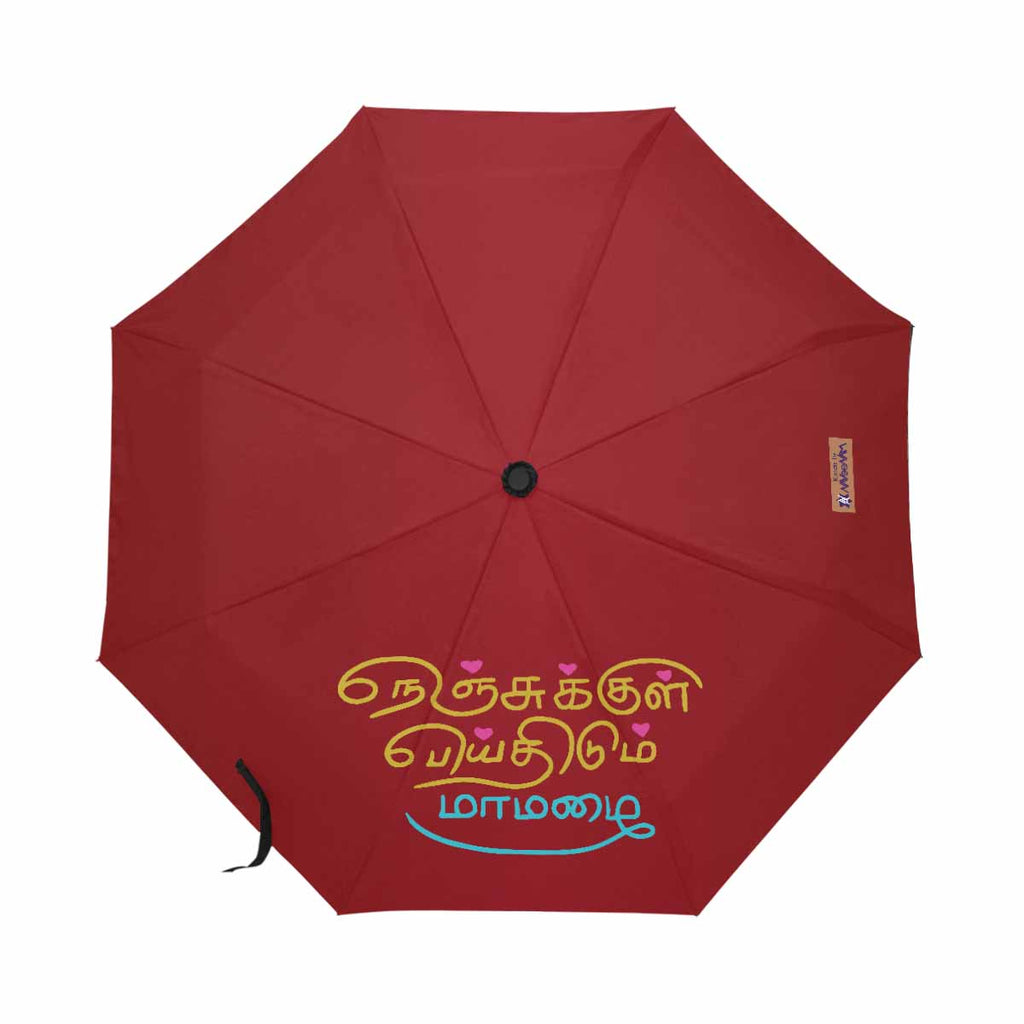 Red Thamizh automatic foldable umbrella anti-uv 21 inch Nenjukkul Paeithidum Maamazhai wedding anniversary valentines day romantic gift for girlfriend lover wife