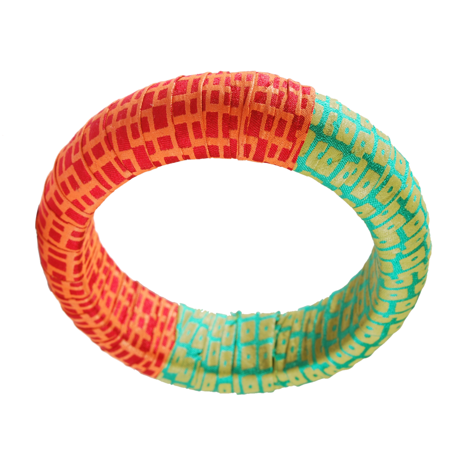 SILK WRAPPED WOODEN BANGLE