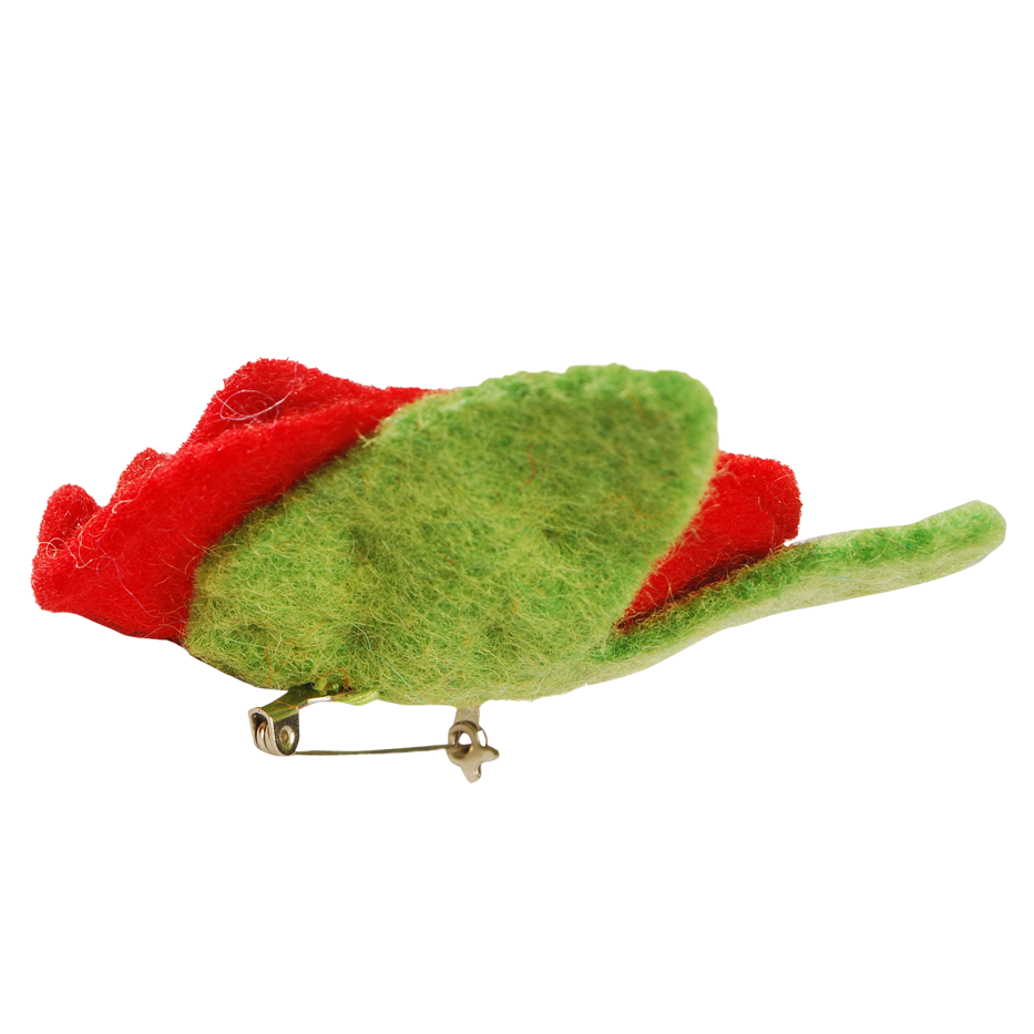 FLOWER WITH LEAVES PIN