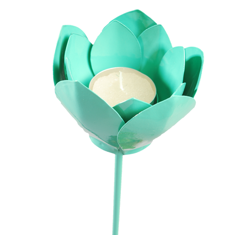 TURQUOISE LOTUS CANDLESTICK