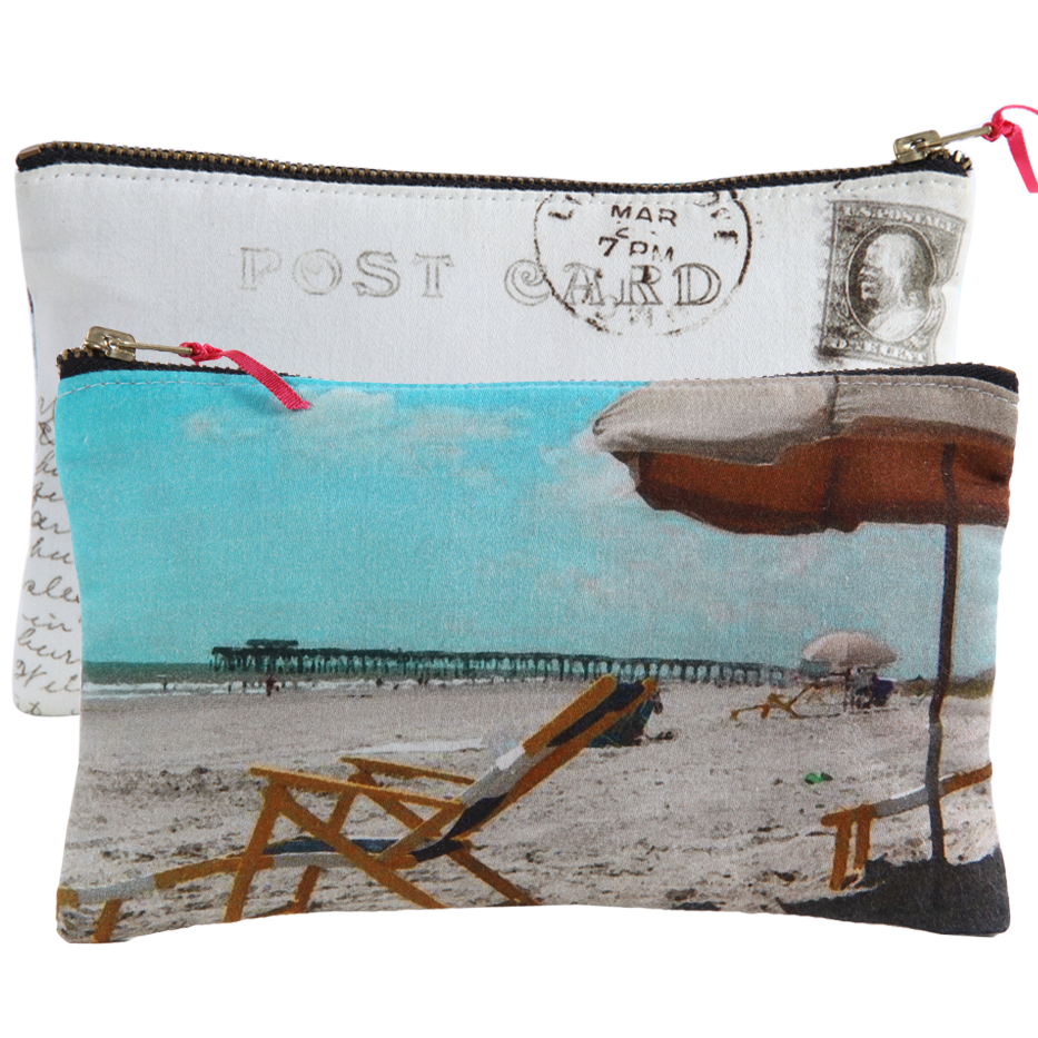 BEACH POST CARD FABRIC POUCH