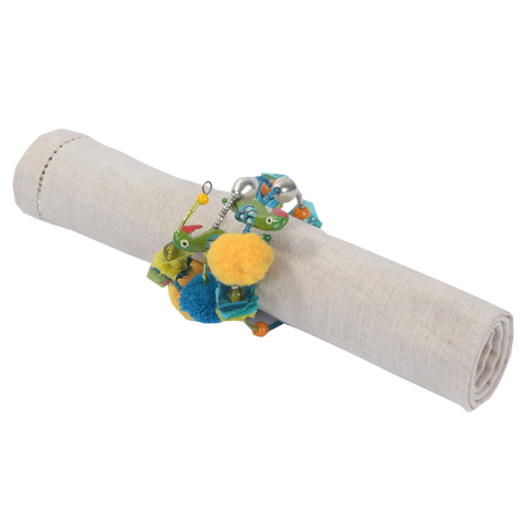 WHISTLING NEST TURQ NAPKIN RING