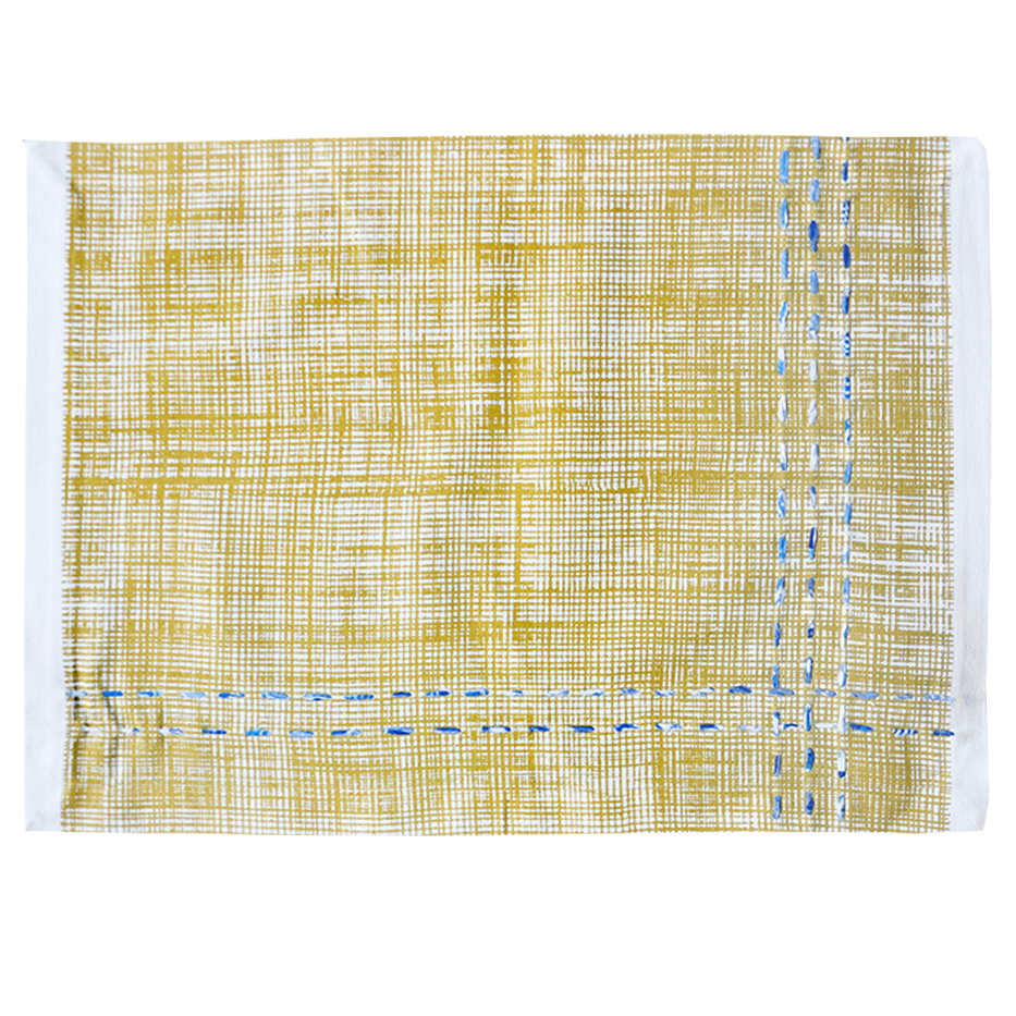 YELLOW TEXTURED FABRIC KANTHA PLACEMAT