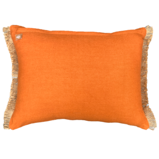 ORANGE GEO JUTE CUSHION COVER