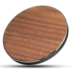 Open image in slideshow, 10W Qi Wireless Metal Wooden LED Fast Desktop Charger Pad for iPhone X 8 Plus S8 S9 Note 8