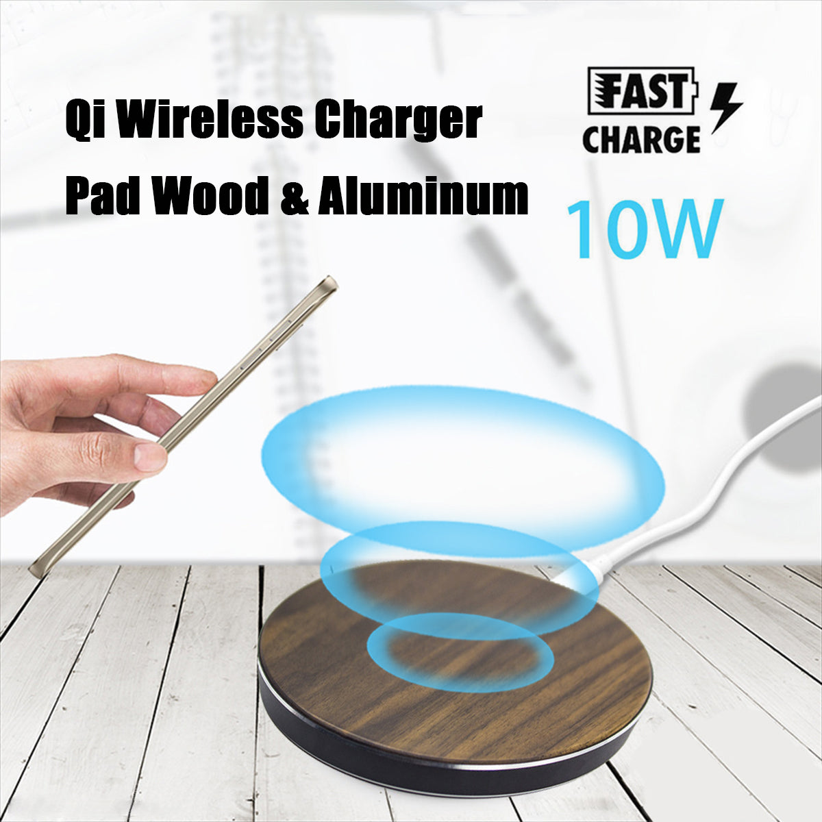 10W Qi Wireless Metal Wooden LED Fast Desktop Charger Pad for iPhone X 8 Plus S8 S9 Note 8