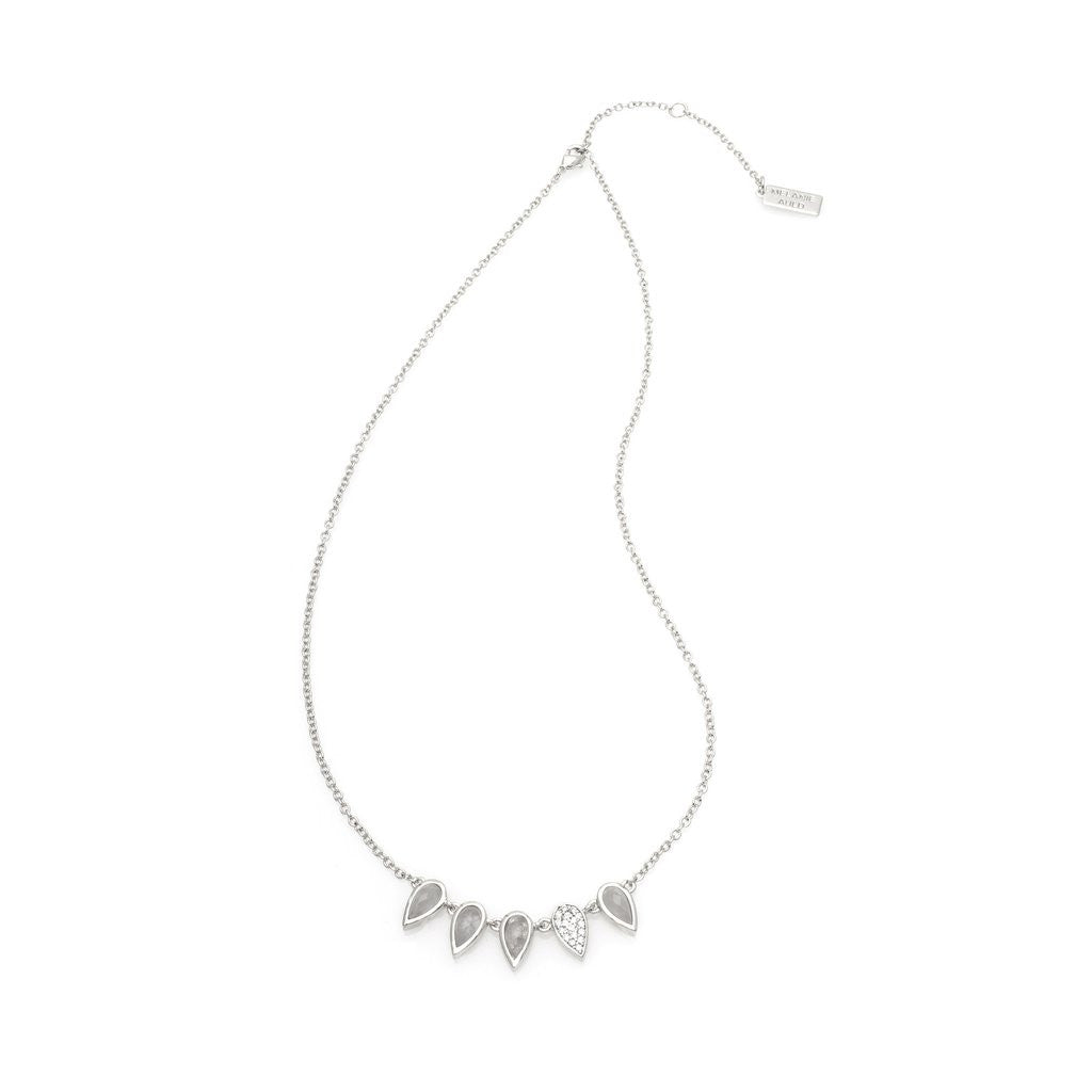 Multi Tear Necklace - Moonstone/Silver