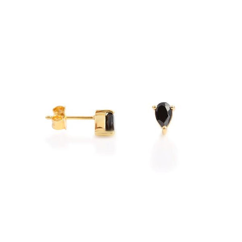 Pear Stud - Black Onyx