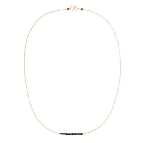Black Gem Stone Bar Necklace - Gold