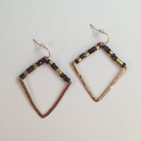 Hammered Angular Garnet Earrings