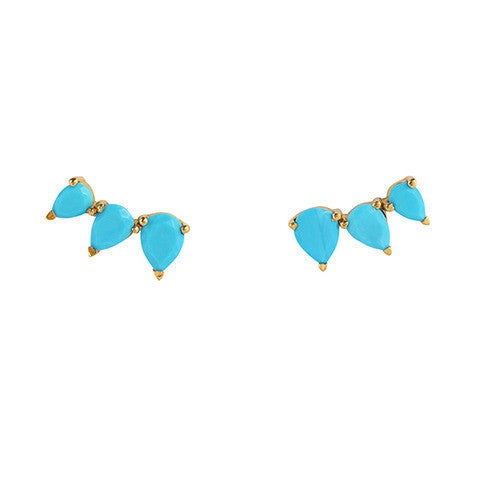 Sunny Turquoise Ear Climbers - Gold