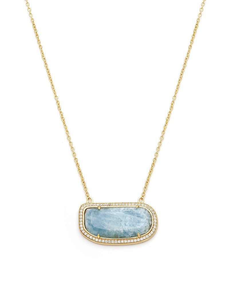 Stone Slice Necklace - Aquamarine
