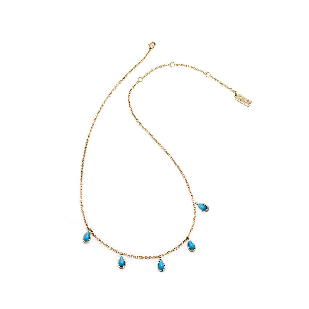 Stone Drop Necklace - Turquoise & Gold