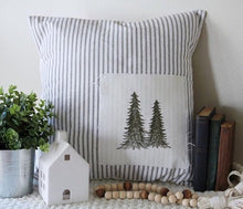Load image into Gallery viewer, Tree Patchwork - Ticking Stripe Pillow Cover