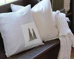 Tree Patchwork - Ticking Stripe Pillow Cover
