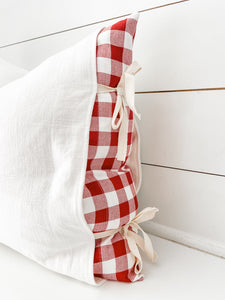 Oh Snap! Red and White Gingham Stripe Panel