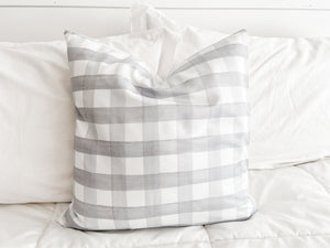 PRE-ORDER Gray Buffalo Check Pillow Cover