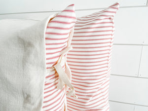 Red and White Ticking Stripe - Oh Snap! Decorative Panel