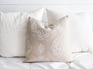 Natural and White Scroll Linen Pillow Cover