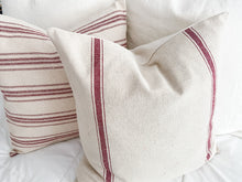 Load image into Gallery viewer, Red Stripe Grain Sack Pillow Cover Set