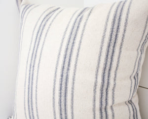 Blue Stripe Grain Sack Pillow Cover Set