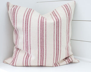 Red Stripe Grain Sack Pillow Cover Set