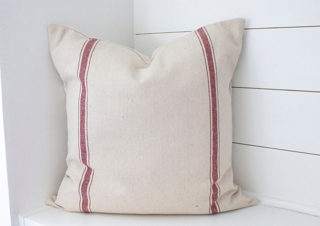2 Red Stripes Grain Sack Pillow Cover