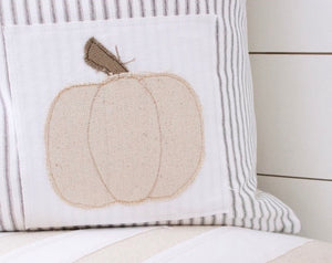 Pumpkin Patchwork Ticking Stripe Pillow Cover